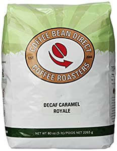 Coffee Bean Direct Decaf Caramel Royale Flavored, Whole Bean Coffee, 5-Pound Bag