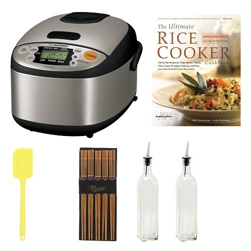 Zojirushi NS-LAC05 Micom 3-Cup Rice Cooker and Warmer Bundle with Cookbook + Silk Wrapped Chopsticks + 2 Oil & Vinegar Bottles + Bamboo Spatula Spoon (Rice Cooker Zojirushi 2 Cup compare prices)
