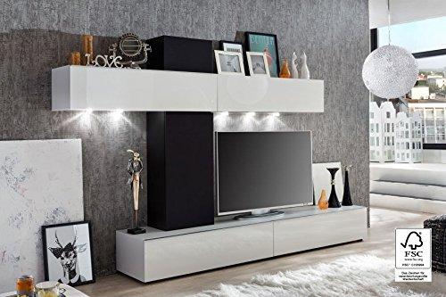 trendteam GO94102 Wohnwand Wohnzimmerschrank Weiss Hochglanz, Absetzung Boxenstoff schwarz, BxHxT 268x175x44 cm online bestellen