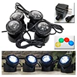 12-LED Submersible Light for Water Gardens and Ponds, Set of 4