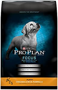Purina Pro Plan Dry Dog Food, Focus,  Puppy Chicken and Rice Formula, 34-Pound Bag, Pack of 1