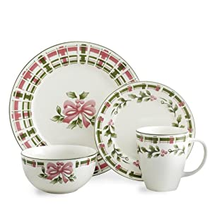 dinnerware set 32 piece service for 8 green and pink