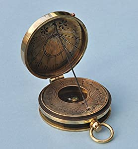 Antique Patina Pocket Sundial Compass with Cord Gnomon