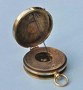 Antique Patina Pocket Sundial Compass with Cord Gnomon