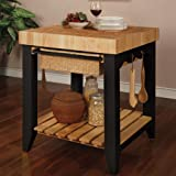 Powell Color Story Black Butcher Block Kitchen Island