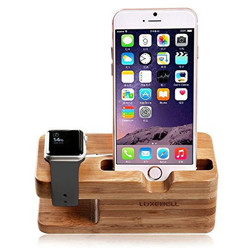 Apple Watch Stand, Luxebell Bois de Bamboo Support de Chargeur Dock Station Cradle pour Apple iPhone Watch et 6s Plus / 6s / 6 Plus / 6 / 5s / 5c /