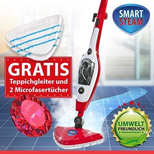 smart-steam-10-in-1-dampfbesen-dampfreiniger-dampfmop-rot-1500watt