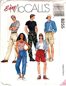 McCall's Sewing Pattern 8255 Misses' & Mens Pull-on Pants & Shorts, Lg (Size 40, 42)