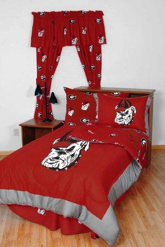 Ncaa Georgia Bulldogs Collegiate 7Pc Red Queen Bedding Set front-909220