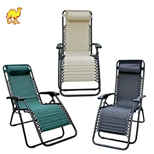 STRONG CAMEL Folding Zero Gravity Recliner Lounge Chair Long Beach Chair Patio Pool Chair New-BEIGE