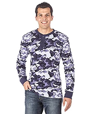 Mens solid thermal henley long sleeve t shirts camo blue for Mens xl tall henley shirts