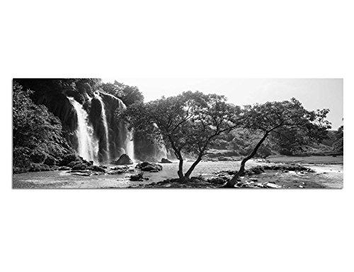Toile Photo comme Panorama Noir/Blanc 150x 50cm Vietnam arbres forêt Cascade Nature