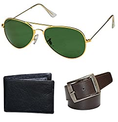 Combo Pack of Aviator Sunglasses, Money Wallet & Belt for Boys / Mens ( GoldenGreen-BlackWallet-BrownBelt ) ( CM-ASSE-026 )