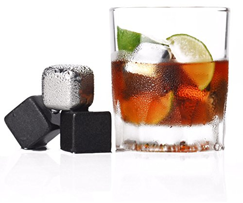 Rock and Stainless Steel Whiskey Stones, Pouch and Tong. Unique Set of Reusable Ice Cubes, Chilling Stones (Gentleman Jack Whisky compare prices)