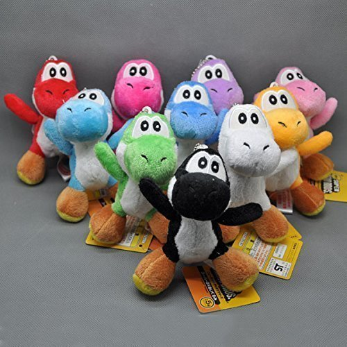 Super Mario Bros Yoshi 4 Inch Toddler Stuffed Plush Kids Toys 10 Pcs/set