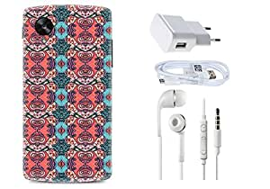 Spygen GOOGLE NEXUS 5x Case Combo of Premium Quality Designer Printed 3D Lightweight Slim Matte Finish Hard Case Back Cover + Charger Adapter + High Speed Data Cable + Premium Quality Handfree
