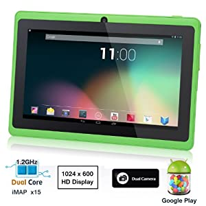 Dragon Touch® 7'' Green Dual Core Y88 Google Android 4.1 Tablet PC, Dual Camera, HD 1024x600, Google Play Pre-load, HDMI [By TabletExpress] by TabletExpress