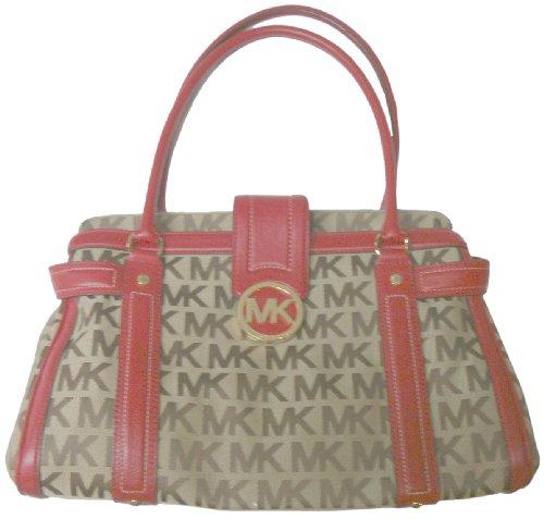 Michael Kors Purse Handbag Westbury Shopper Beige/Ebony/Red