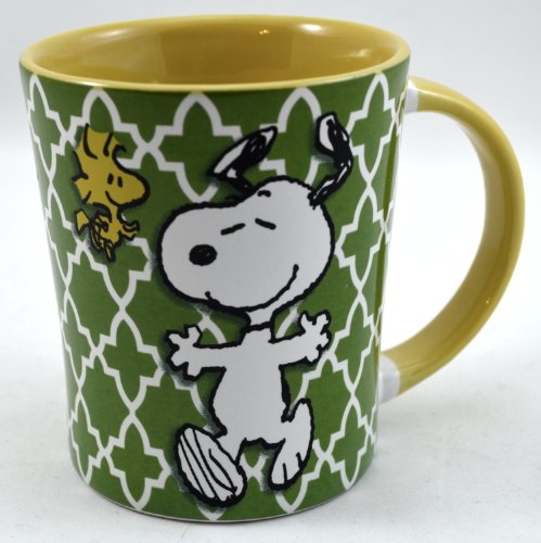 Colorful Peanuts Comic Coffee Mug: Snoopy And Woodstock - 15 Oz. Stoneware