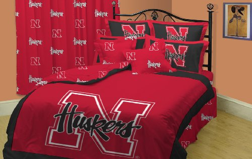 NEBRASKA Huskers Bedroom Set: Comforter, Sheets, Curtains