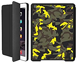 iPad Air 1 Smart Case Flip Cover (Black)- Neon Yellow Camouflage-Limited Edition Designed by Nik-L