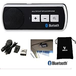 Vagus ElectronicsTM - Bluetooth Handsfree Sunvisor Kit for all phones: iPhone, 3, 3GS, 4, 4S, 5, all HTC, HTC One S, V, X, XL, HTC Desire, C, HD, S, Z, HTC Sensation, XE, XL, HTC Wildfire, S, HTC 7 Pro, ChaCha, Incredible S, Radar, Trophy, Salsa, Rhyme, Legend, Mozart, Gratia, EVO 3D, Explorer, HD Mini, HD2, HD7, HD7S, all other HTC, Samsung Galaxy S, S2, S3, S4, S Advance, Ace, Ace 2, Note, Note 2, Plus, Y, all other Samsung, all Blackberry, Curve, Bold, Storm, Torch, all Sony Xperia, all Nokia and all other phones