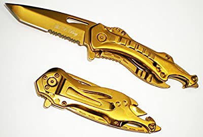 Gold Titanium Coating Stainless Steel TANTO Blade Tactical Folding Rescue Pocket Knife