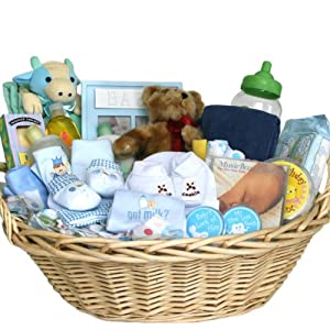deluxe baby gift basket blue for boys great shower gift idea for