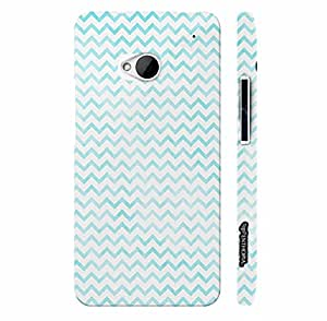 Htc One M7 CHEVRON BLUE N WHITE designer mobile hard shell case by Enthopia