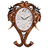 GATTS Elegant & Classic Elephant Diamond Studded Copper Color Decorative Wall Clock(23x16x2.5 Inch)