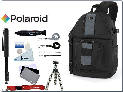 "Lowepro SLINGSHOT 302 AW Sling Backpack DSLR Camera Bag and a 67"" Monopod/Flexible Mini Tripod/Digital Grey Card/5 Pc. Cleaning Kit/Lenspen/4 Pack Wrist Strap & Neck Strap Combo Kit"