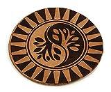 Custom Laser Engraved Leather Round Drink Coasters Spiritual - Ying Yang Tree
