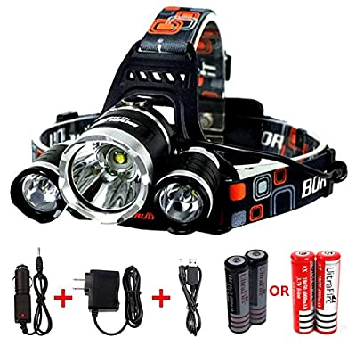 Benran Waterproof LED Headlamp Headlight Rechargeable Head Flashlight Lamp with 3 Xm-l T6 4 Modes Outdoor Sports Hiking Camping Riding Fishing Hunting