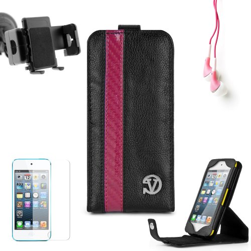 Elegant Vangoddy Repetto Collection Black Thick Grain Leatherette With Pink Carbon Fiber Stripe Apple Ipod Touch Itouch 5 Leather Cover With Vertical Stand - Newest Model + Custom Cut Ipod Touch Itouch 5 Screen Protector + Ipod Touch Itouch 5 Car Mount Ve