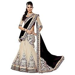 Khazanakart Exclusive Designer Black Color Net Fabric Un-stitched Lehenga Choli With Chiffon Dupatta Material.