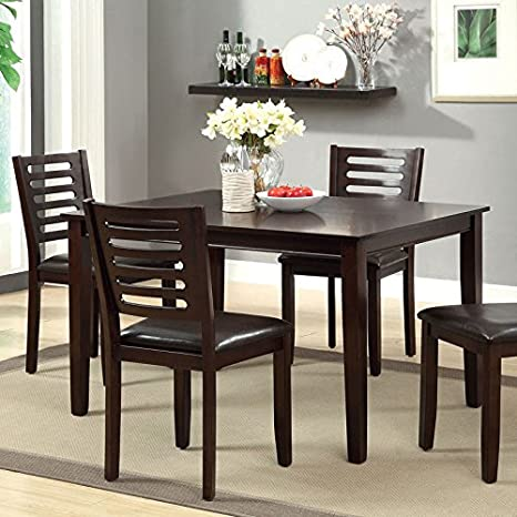 Amador Transitional Espresso Finish 5-Piece Dining Table Set