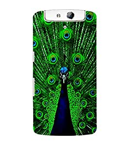 ColourCraft Dancing Peacock Back Case Cover for OPPO N1