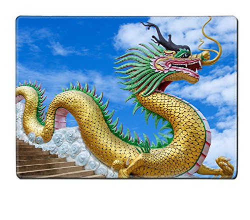 MSD Natural Rubber Placemat Kitchen Table 15.8 x 12 x 0.2 inches IMAGE ID 20212753 Giant chinese style dragon statue on blue sky background