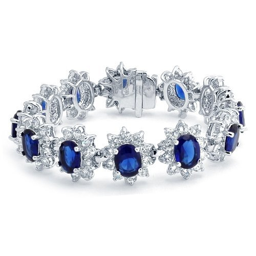 Click to buy Blue Sapphire Bracelet: Princess Diana-Inspired CZ Crown Sapphire Color Bracelet from Amazon!