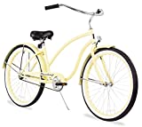 Firmstrong Chief Lady Single Speed Beach Cruiser Bicycle, Vanilla, 19 inch / Large