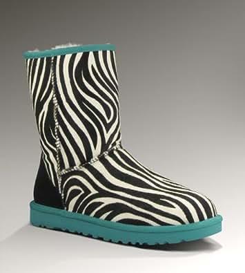 UGG Women's Classic Short Boot Exotic Zebra Deep Aqua Size 10 B(M) US