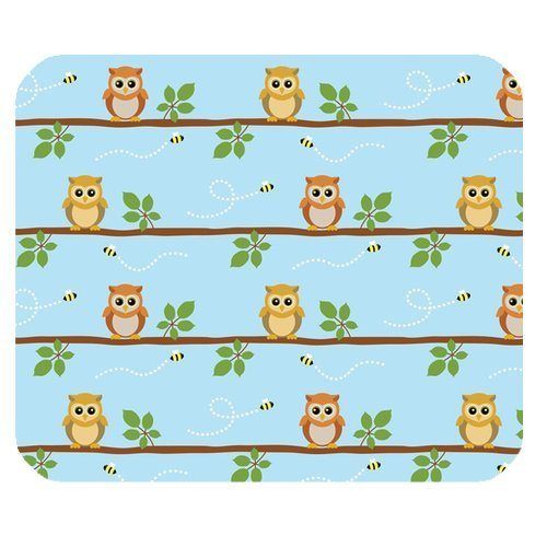 Generic Personalized Lovely Cartoon Cute Baby Owl And Bee For Rectangle Mouse Pad front-547890