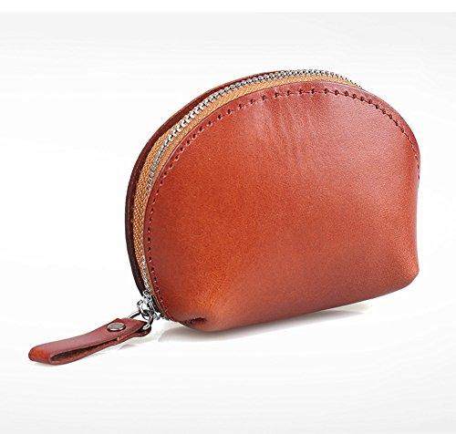 LQT portamonete Borsa a portafoglio in pelle con fermo, colore: chiaro Marrone Marrone