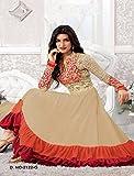 New Heavy Kriti Sanon Cream & Orange Long Length Traditional Anarkali Suits- Free Size (FBA172-2128)