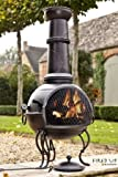 La Hacienda 56062B 107cm Murcia Large Steel Chiminea with Grill - Black