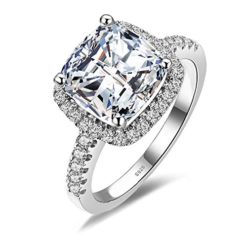 Jewelrypalace Women's 3ct Cubic Zirconia Cz Wedding Band Anniversary Halo Engagement Ring 925 Sterling Silver Size 8