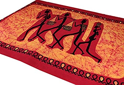 Amazing India African Family Wall Hanging Bed Cover Single Bedspread Orange 140Cm X 230Cm