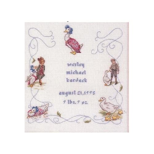 Beatrix Potter Jemima Puddle-Duck Birth Sampler Cross Stitch Pattern