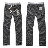 メンズ レギュラー ロング スウェット パンツ ダンス&フィットネス ルームウェア:8色 4サイズ【炭色:L】