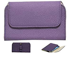 Jo Jo A4 G8 Belt Case Mobile Leather Carry Pouch Holder Cover Clip For Celkon A64 Purple